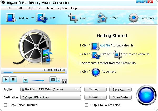 Bigasoft BlackBerry Video Converter